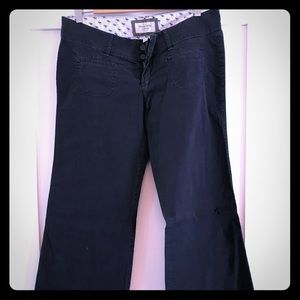 Navy blue wide leg Abercrombie trousers
